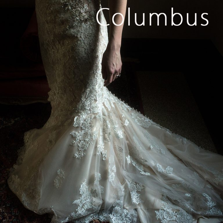 bride's dress in dramatic window light at the Columbus Ohio Museum of Art